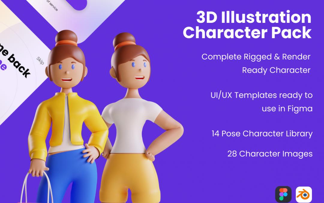 3D Web Illustration – Character Pack