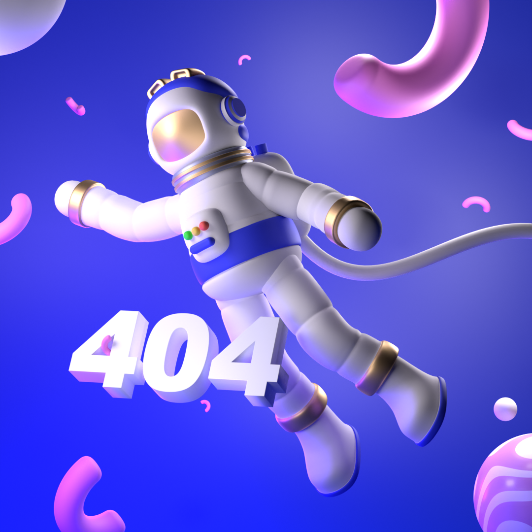 A 3D Space man floaring in a bright space